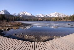 πεζοδρόμιο βουνών λιμνών στοκ εικόνες με δικαίωμα ελεύθερης χρήσης