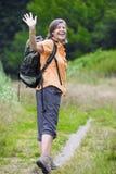 πεζοπορία ληφθείσα στιλβωτική ουσία γυναίκα εικόνων βουνών Στοκ φωτογραφίες με δικαίωμα ελεύθερης χρήσης