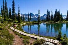 Πεζοπορία στο βουνό συριστήρων το καλοκαίρι στοκ εικόνες