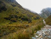 Πεζοπορώ στην αρχαία στρωμένη ίχνος πορεία Inca σε Machu Picchu Περού Κανένας άνθρωπος Στοκ φωτογραφίες με δικαίωμα ελεύθερης χρήσης