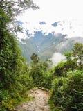 Πεζοπορώ στην αρχαία στρωμένη ίχνος πορεία Inca σε Machu Picchu Περού Κανένας άνθρωπος Στοκ εικόνες με δικαίωμα ελεύθερης χρήσης
