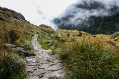 Πεζοπορώ στην αρχαία στρωμένη ίχνος πορεία Inca σε Machu Picchu Περού Κανένας άνθρωπος Στοκ Εικόνα