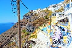 Πεζούλια Ελλάδα άποψης θάλασσας νησιών Santorini Στοκ Εικόνες