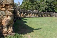 Πεζούλι των ελεφάντων σε Angkor Thom σε Siemreap, Καμπότζη Στοκ Εικόνες