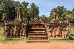 Πεζούλι των ελεφάντων σε Angkor Thom σε Siemreap, Καμπότζη Στοκ Φωτογραφίες