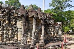 Πεζούλι των ελεφάντων σε Angkor Thom σε Siemreap, Καμπότζη Στοκ Φωτογραφία