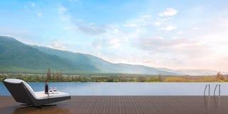 Πεζούλι και θέα βουνού πισινών απεικόνιση αποθεμάτων