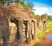 Πεζούλι των ελεφάντων, Angkor Thom, Καμπότζη Στοκ Εικόνες