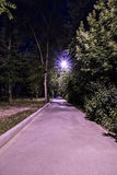 Πεζοδρόμιο τη νύχτα κάτω από το φανάρι Στοκ Εικόνα