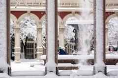 Πεζός και χιόνι στοκ φωτογραφίες με δικαίωμα ελεύθερης χρήσης