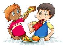 Πεινασμένη κατανάλωση αγοριών Στοκ Εικόνες