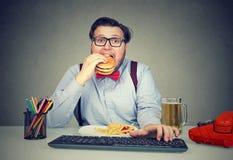 Πεινασμένο άτομο που τρώει το γρήγορο φαγητό στην εργασία στοκ φωτογραφία με δικαίωμα ελεύθερης χρήσης