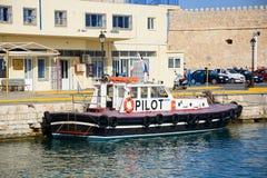 Πειραματική βάρκα στο λιμάνι Ηρακλείου, Κρήτη στοκ φωτογραφία