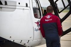 Πειραματική στάση αετός-MED κοντά στο ελικόπτερο Στοκ Εικόνες