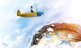 Πειραματικός στο οδηγώντας αεροπλάνο προωστήρων κρανών δέρματος διανυσματική απεικόνιση