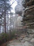 Πειραματικό πρωί της Misty βουνών στοκ εικόνα