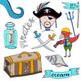 Πειρατές κινούμενων σχεδίων καθορισμένοι Συρμένη χέρι συλλογή παιδιών Διανυσματικοί πειρατής και παπαγάλος απεικονίσεων Doodle Στοκ φωτογραφία με δικαίωμα ελεύθερης χρήσης