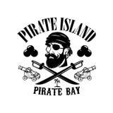Πειρατές Πρότυπο εμβλημάτων με τα ξίφη και το κεφάλι πειρατών Στοιχείο σχεδίου για το λογότυπο, ετικέτα, έμβλημα, σημάδι διανυσματική απεικόνιση