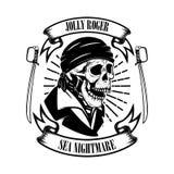 Πειρατές Πρότυπο εμβλημάτων με τα ξίφη και το κρανίο πειρατών Στοιχείο σχεδίου για το λογότυπο, ετικέτα, έμβλημα, σημάδι διανυσματική απεικόνιση
