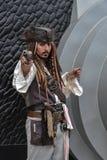 Πειρατές του καραϊβικού καπετάνιου Jack Sparrow (Johnny Depp), cosplay Στοκ εικόνα με δικαίωμα ελεύθερης χρήσης