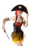 Πειρατής γυναικών με ένα ξίφος κοστούμι αποκριές Στοκ Εικόνες