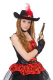 Πειρατής γυναικών με το πυροβόλο όπλο Στοκ Εικόνες