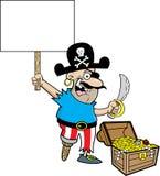 Πειρατής κινούμενων σχεδίων που κρατά ένα σημάδι στεμένος δίπλα σε ένα στήθος θησαυρών διανυσματική απεικόνιση