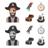 Πειρατής, ληστής, καπέλο, επίδεσμος Οι πειρατές θέτουν τα εικονίδια συλλογής στα κινούμενα σχέδια, μονοχρωματική απεικόνιση αποθε Στοκ Φωτογραφία