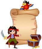 Πειρατής, παπαγάλος, στήθος θησαυρών και επιστολή προτύπων διανυσματική απεικόνιση