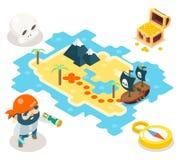 Πειρατών θησαυρών περιπέτειας παιχνιδιών RPG χαρτών εικονιδίων Isometric διανυσματική απεικόνιση σχεδίου συμβόλων επίπεδη απεικόνιση αποθεμάτων