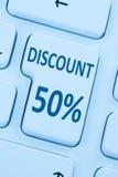 50% πενήντα έκπτωσης κουμπιών δελτίων σε απευθείας σύνδεση τοις εκατό αγορών πώλησης μέσα Στοκ φωτογραφίες με δικαίωμα ελεύθερης χρήσης