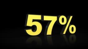 Πενήντα επτά τρισδιάστατης τοις εκατό απόδοσης 57% διανυσματική απεικόνιση