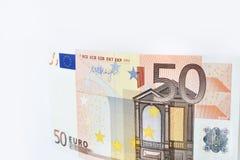 Πενήντα ευρώ που απομονώνεται στο άσπρο υπόβαθρο Στοκ Φωτογραφία