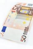 Πενήντα ευρώ που απομονώνεται στο άσπρο υπόβαθρο Στοκ φωτογραφίες με δικαίωμα ελεύθερης χρήσης