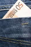 Πενήντα ευρώ στην τσέπη της Στοκ Εικόνα