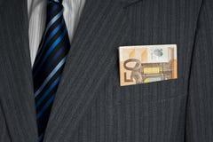 Πενήντα ευρώ στην τσέπη Στοκ φωτογραφία με δικαίωμα ελεύθερης χρήσης