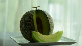 Πεπόνι φρέσκο από το αγρόκτημα φάτε καλά Φρούτα μιγμάτων στενοί νωποί καρποί επάνω Υγιής κατανάλωση, να κάνει δίαιτα έννοια απόθεμα βίντεο