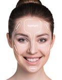 Περίγραμμα και κυριώτερο σημείο makeup στοκ φωτογραφία