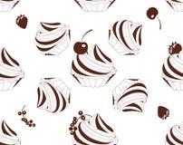 Περίγραμμα και siluÑ» κέικ τ με το μούρο άνευ ραφής σύσταση Στοκ Εικόνες