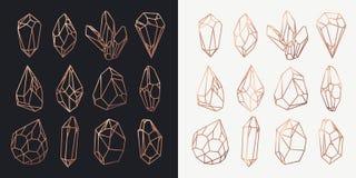 Περίγραμμα κρυστάλλων και διαμαντιών, πολύτιμων λίθων και βράχων Στοκ φωτογραφίες με δικαίωμα ελεύθερης χρήσης