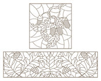 Περίγραμμα που τίθεται με τις απεικονίσεις του λεκιασμένου γυαλιού με τα φύλλα Στοκ φωτογραφία με δικαίωμα ελεύθερης χρήσης