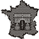 Περίγραμμα της Γαλλίας με Arc de Triomphe Στοκ Φωτογραφία