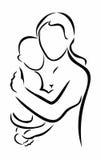 Περίγραμμα της μητέρας και του παιδιού Στοκ εικόνα με δικαίωμα ελεύθερης χρήσης