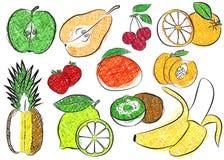 Περίγραμμα χρωματισμένου του φρούτα δείκτη Στοκ Εικόνες