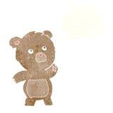 περίεργος teddy κινούμενων σχεδίων αντέχει με τη σκεπτόμενη φυσαλίδα Στοκ Φωτογραφία
