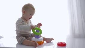 Περίεργο αγόρι μικρών παιδιών που παίζεται με τον εκπαιδευτικό πύργο παιχνιδιών στο φωτεινό δωμάτιο φιλμ μικρού μήκους