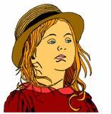 Περίεργο μικρό κορίτσι στο άσπρο υπόβαθρο Στοκ Φωτογραφίες