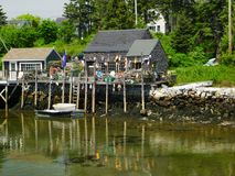 Περίεργο μικρό lobsterman χωριό της Νέας Αγγλίας Στοκ Φωτογραφία