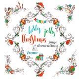 Περίκομψες διακοσμήσεις γωνιών πλαισίων και σελίδων Χριστουγέννων που απομονώνονται στο άσπρο υπόβαθρο Στοκ φωτογραφία με δικαίωμα ελεύθερης χρήσης