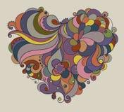 Περίκομψη καρδιά χρώματος βαλεντίνων floral Απεικόνιση αποθεμάτων